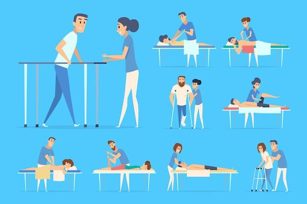Personas de fisioterapia. estiramientos deportivos ejercicios quiroprácticos masajes correctivos médicos y procedimientos de terapia de pacientes. rehabilitación médica, ilustración de paciente de atención fisioterapeuta
