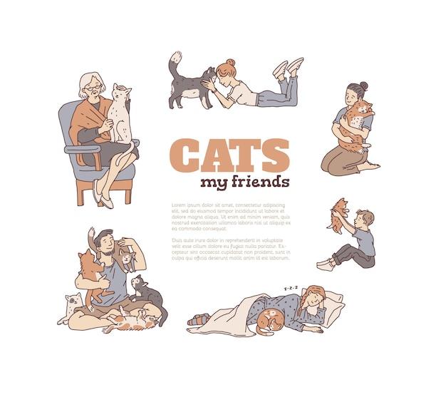 Personas con gatos sin pedigrí. banner contorno doodle vector mascotas y amantes de los gatos.