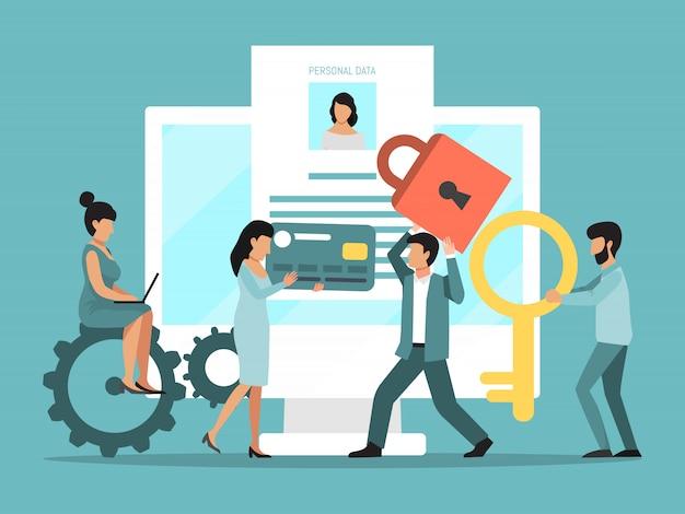 Personas gdpr. protección de internet de datos personales. seguridad en línea, privacidad web de la base de datos personal. gente pequeña protege la información en una computadora portátil grande