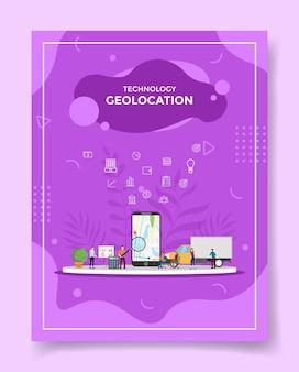 Personas de geolocalización alrededor del mapa del teléfono inteligente en la pantalla para la plantilla de folleto