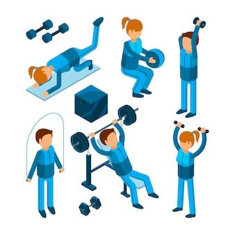 Personas en el gimnasio, personajes deportivos haciendo ejercicios de bombeo de fuerza cardiovascular en el gimnasio