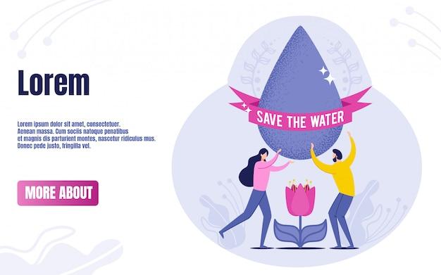 Las personas con gota con texto ahorran agua.