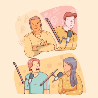 Personas grabando y escuchando podcasts.