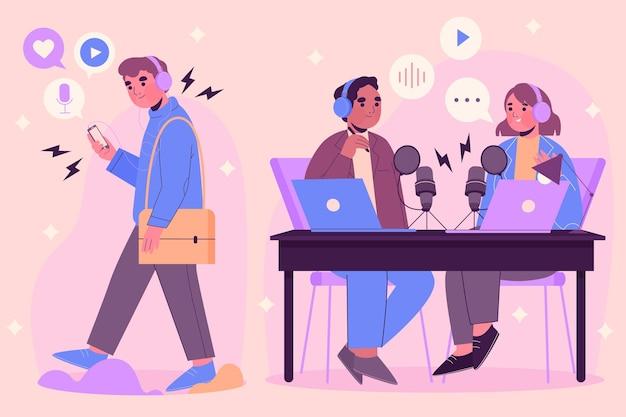 Personas grabando y escuchando podcasts