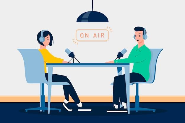 Personas grabando un podcast ilustrado.
