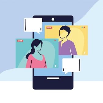 Personas hablando entre sí en el teléfono inteligente, videoconferencia en conferencia, trabajando desde casa