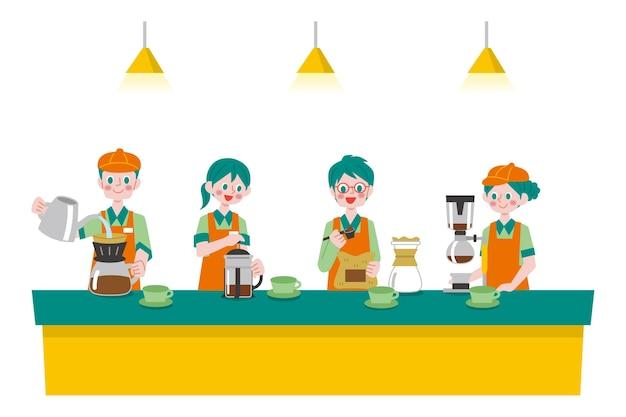Personas haciendo colección de diferentes métodos de café.