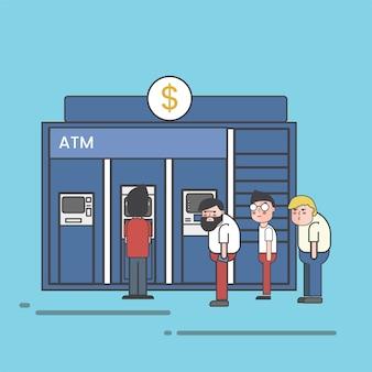 Personas haciendo fila para retirar o depositar dinero en una ilustración de cajero automático