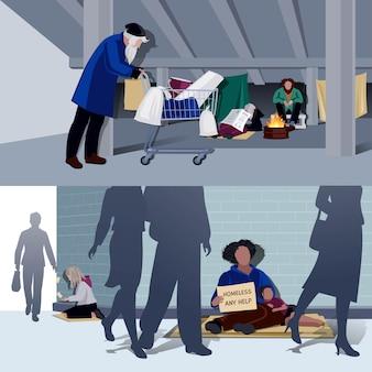Personas sin hogar composiciones planas