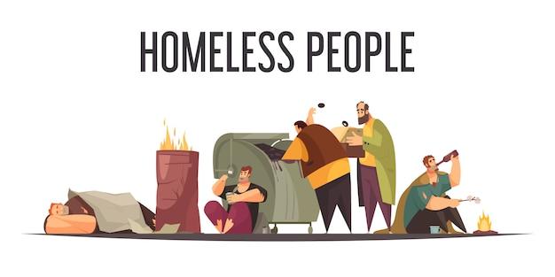 Personas sin hogar recogiendo botellas de comida de un gran cubo de basura y durmiendo composición de dibujos animados plana al aire libre