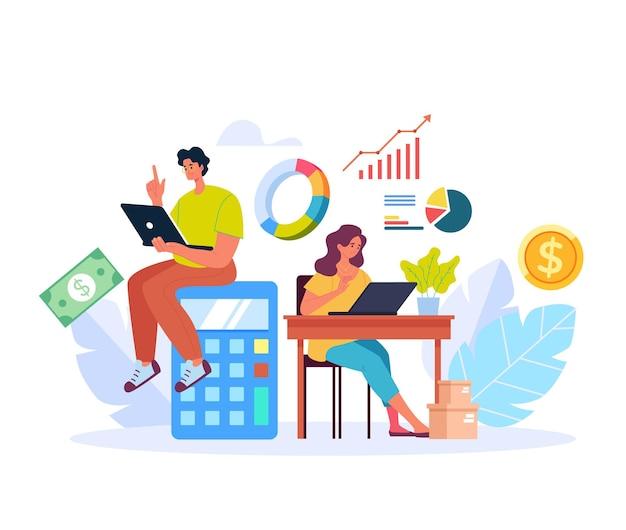 Personas hombre mujer personajes planificando y contando el presupuesto de ingresos de dinero
