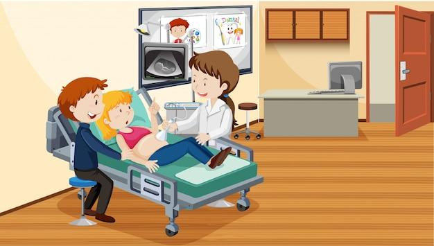 Personas en el hospital haciendo ultrasonido.