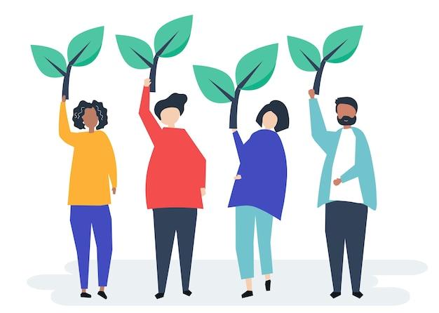 Personas con iconos de árboles para elevar la conciencia ambiental.
