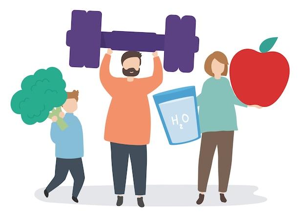 Personas con iconos de fitness y ejercicio.