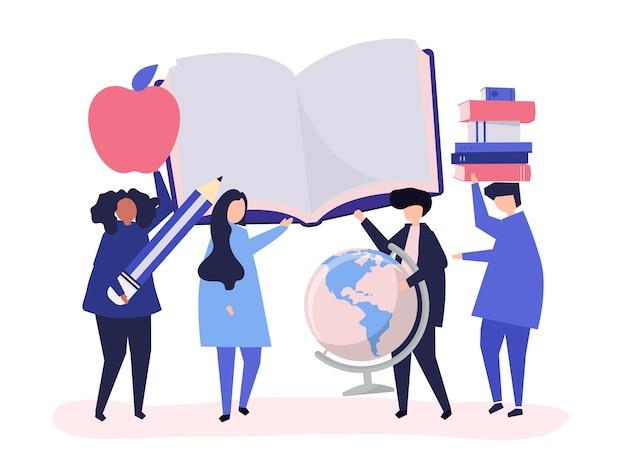 Personas con iconos relacionados con la educación.