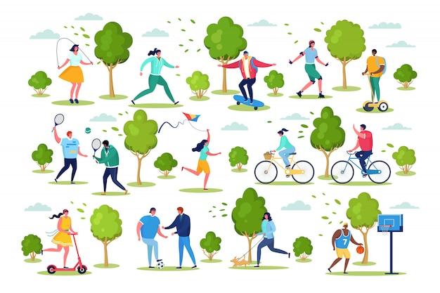 Las personas en la ilustración de actividades al aire libre deportivas, personajes planos activos de dibujos animados se divierten del conjunto de estilo de vida saludable aislado en blanco