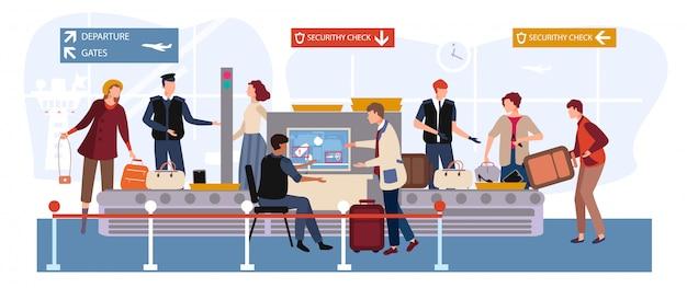 Personas en la ilustración del aeropuerto, personajes de dibujos animados hombre mujer viaje con equipaje pasando por escáner y punto de control de seguridad