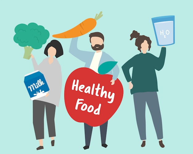 Personas con ilustración de alimentos saludables.