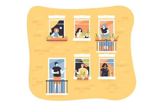 Personas en la ilustración de balcones. ventanas con vecinos dentro de pisos
