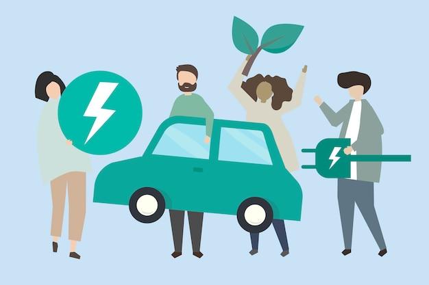 Personas con una ilustración de coche eléctrico.