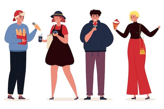 Personas con ilustración de comida