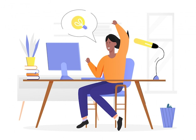 Personas con ilustración de concepto de idea de bombilla. personaje de dibujos animados feliz mujer sentada en el escritorio, tiene una nueva idea innovadora, tiene una marca creativa de bombilla en la burbuja de arriba en blanco
