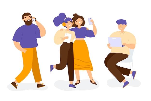 Personas con ilustración de dispositivos de tecnología