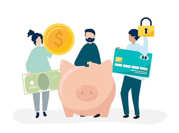 Personas con ilustración de iconos de ahorro y seguridad