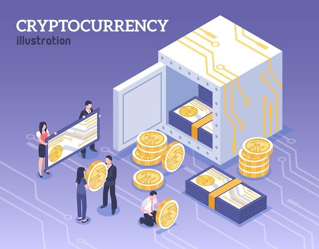 Personas con ilustración isométrica de criptomonedas bitcoins