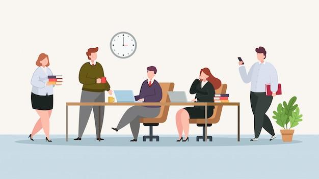Personas en la ilustración de la oficina moderna