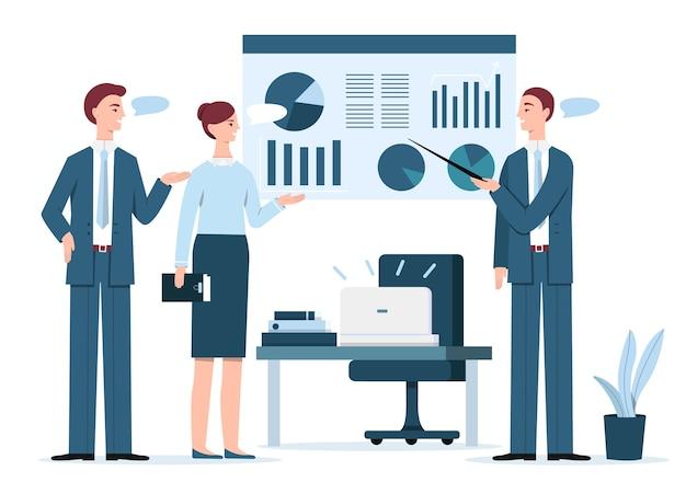 Personas en la ilustración de presentación de negocios