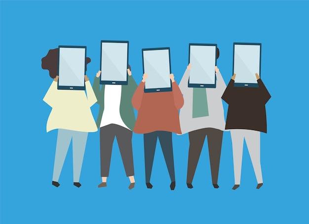 Personas con ilustración de tabletas digitales