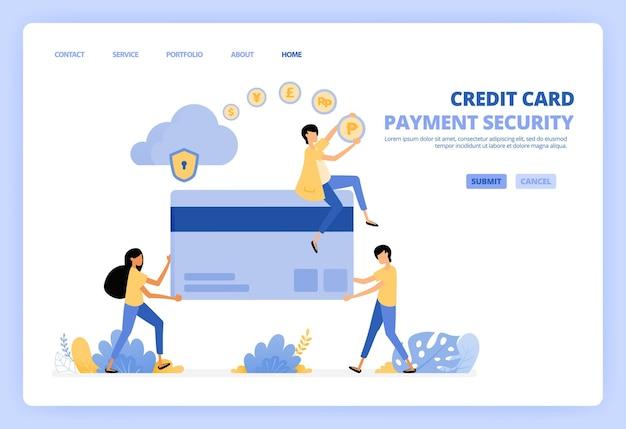 Personas con ilustración de tarjetas de crédito de plástico gigante