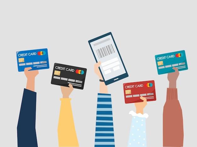 Personas con ilustración de tarjetas de crédito