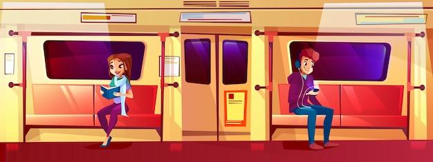 Personas en la ilustración de tren de metro de chico adolescente y chica en el metro.