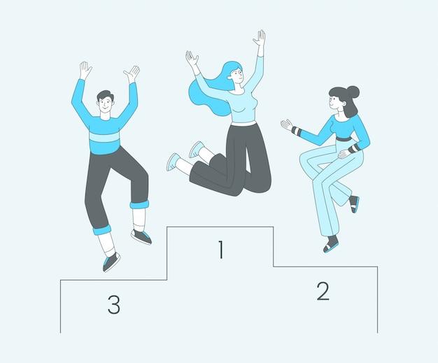 Personas en la ilustración de vector de contorno de pedestal. felices competidores, ganadores de campeonatos que celebran personajes de victoria. campeonato deportivo, logros exitosos, resultados de torneos