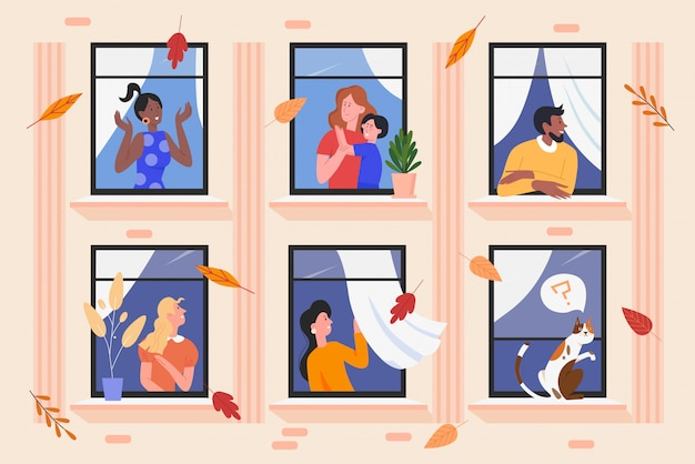 Personas en la ilustración de ventanas de edificio de fachada personajes de dibujos animados hombre mujer vecino que viven en apartamentos vecinos, disfrutando del buen tiempo otoñal. fondo de vecindario feliz
