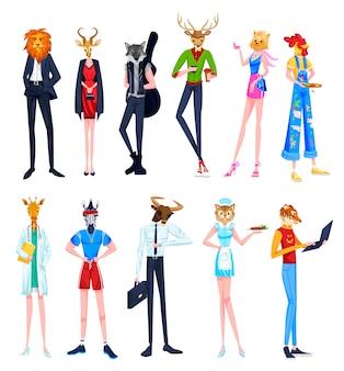 Personas en ilustraciones de cabezas de animales, personajes de dibujos animados hombre mujer con venado león gallo cebra gato jirafa tigre diademas