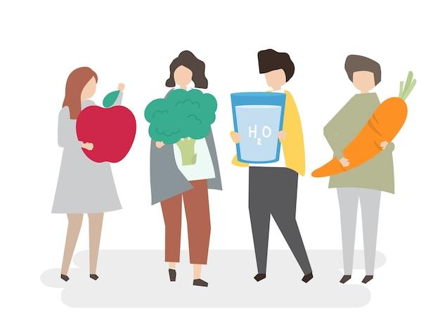 Personas ilustradas con alimentos saludables.