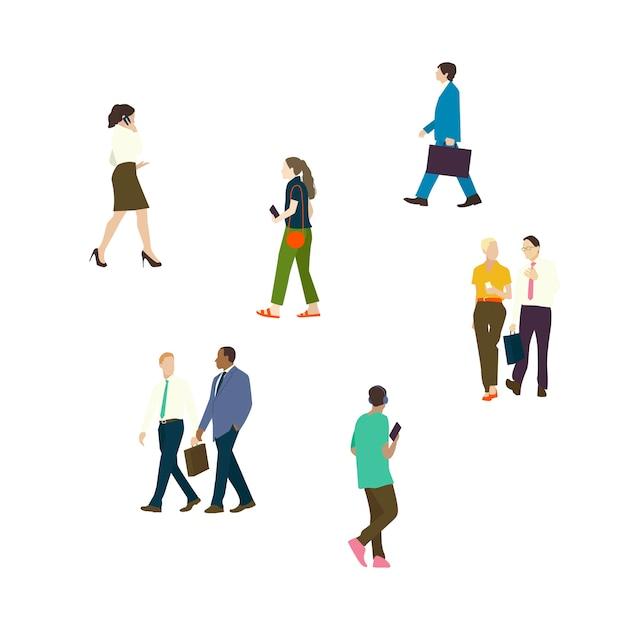 Personas ilustradas ambientadas con diversas carreras.
