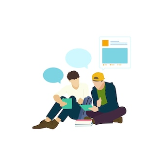 Personas ilustradas con red social