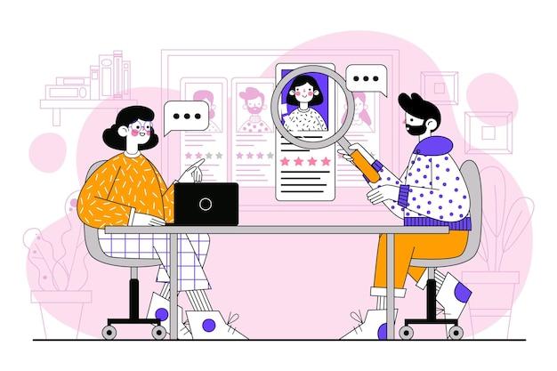 Personas ilustradas por concepto de contratación.