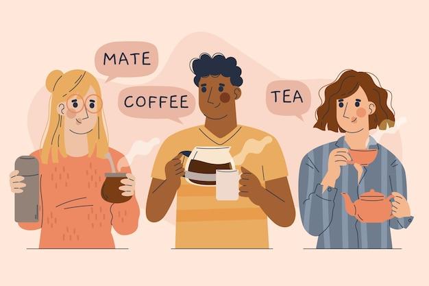 Personas ilustradas dibujadas a mano con bebidas calientes.