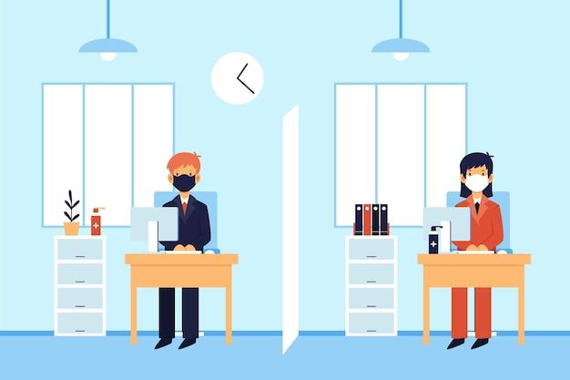 Personas ilustradas del distanciamiento social en la oficina.