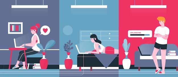 Personas ilustradas que trabajan de forma remota.
