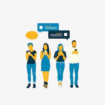Personas ilustradas con red social.