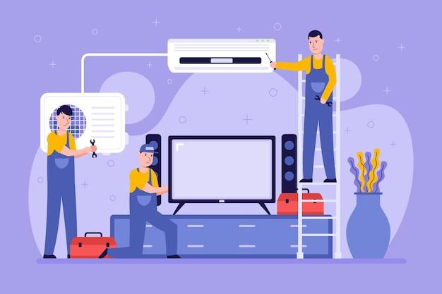 Personas ilustradas renovando una sala de estar.