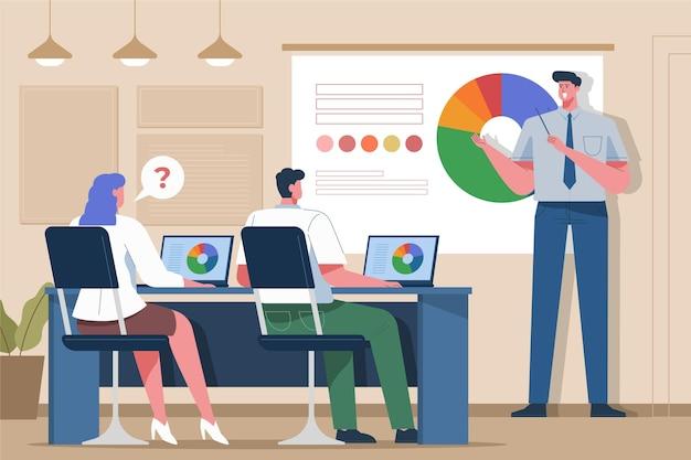 Personas ilustradas sobre formación empresarial.