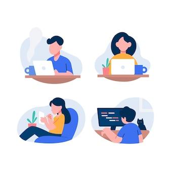 Personas ilustradas trabajando a distancia.