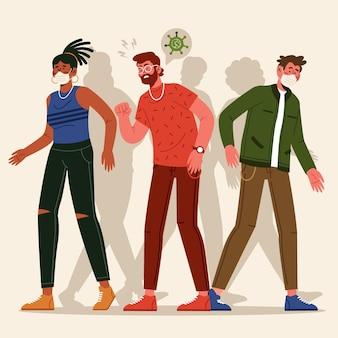 Personas infectadas caminando entre sanos